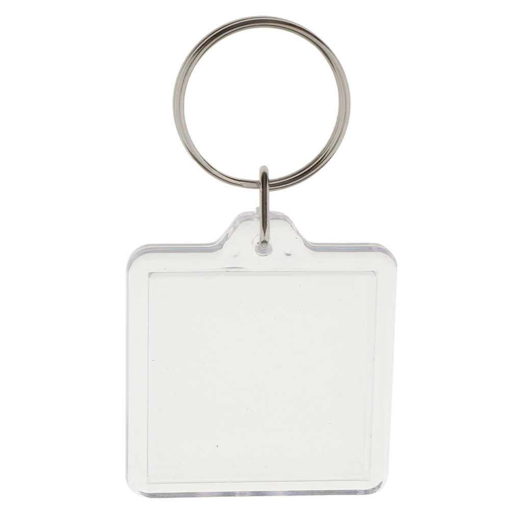 10Pieces DIY Clear Acrylic Keychains Key Ring Blank Insert Photo Picture Frame Split Ring Keychain