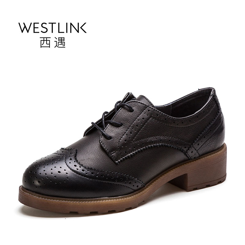 ФОТО Westlink 2017 Spring New Top Layer Leather Cow Brogue Carving Mid Heel Lace-up Women Boots Black