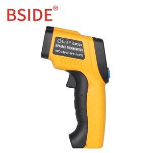 Image 5 - BSIDE GM320 ללא מגע דיגיטלי לייזר אינפרא אדום מדחום LCD תצוגת C/F בחירת טמפרטורת IR בודק עם 4 כפתור