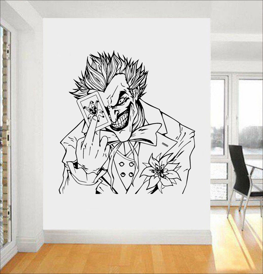 Us 864 26 Offthe Joker Card Batman Crazy Grin Gaming Room Wall Art Decal Room Sticker Vinyl Home Decor Mural Movie Poster Removable P311 In Wall