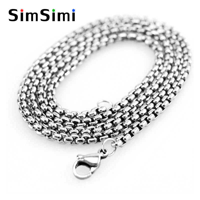 "chain necklaces 3/4/5mm 15.7-39.3"" box square rolo link Chain men necklacen Stainless Steel pendant jewelry diy finding"