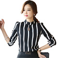 New Korean Lady Fashion Striped  Blouse Plus Size S-3XL Long Sleeve Office Clothing Women Black Chiffon Shirts