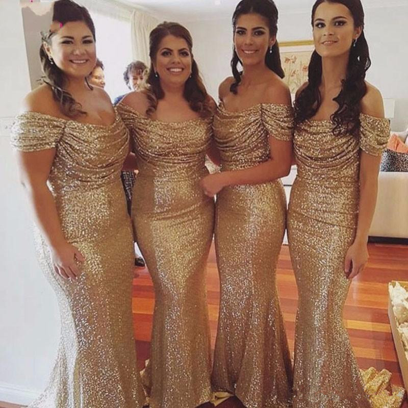 Sparkle 2019   Bridesmaid     Dresses   For Women Mermaid Off The Shoulder Sequins Long Cheap Under 50 Wedding Party   Dresses