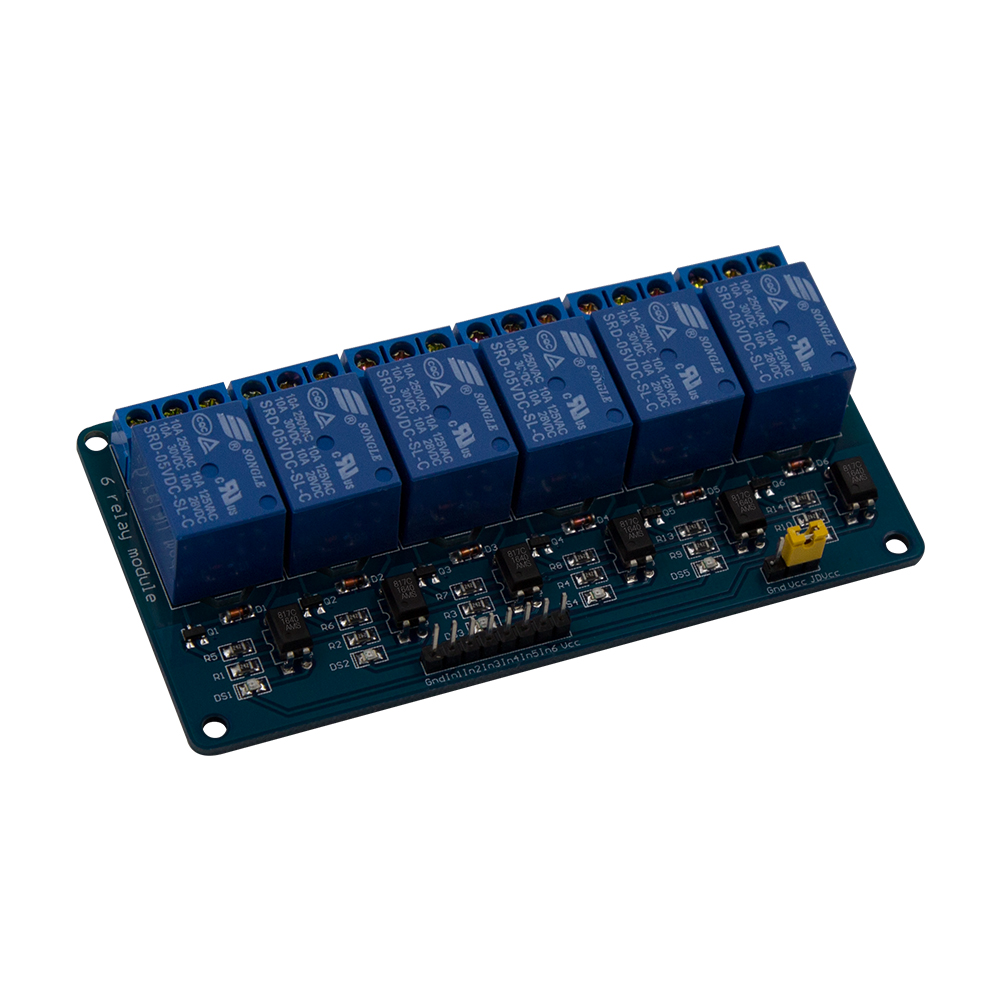 5V 6 Channel Relay Module with light coupling for Arduino PIC ARM DSP AVR Raspberry Pi5V 6 Channel Relay Module with light coupling for Arduino PIC ARM DSP AVR Raspberry Pi