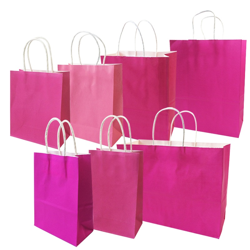 10 Pcs/lot Festival Gift Kraft Bag Hot Pink Shopping Bags DIY Multifunction Recyclable Paper Bag With Handles 7 Size Optional