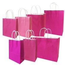 10 sztuk/partia festiwal prezent torba Kraft Hot Pink torby na zakupy DIY wielofunkcyjna torba papierowa do recyklingu z uchwytami 7 rozmiar opcjonalnie