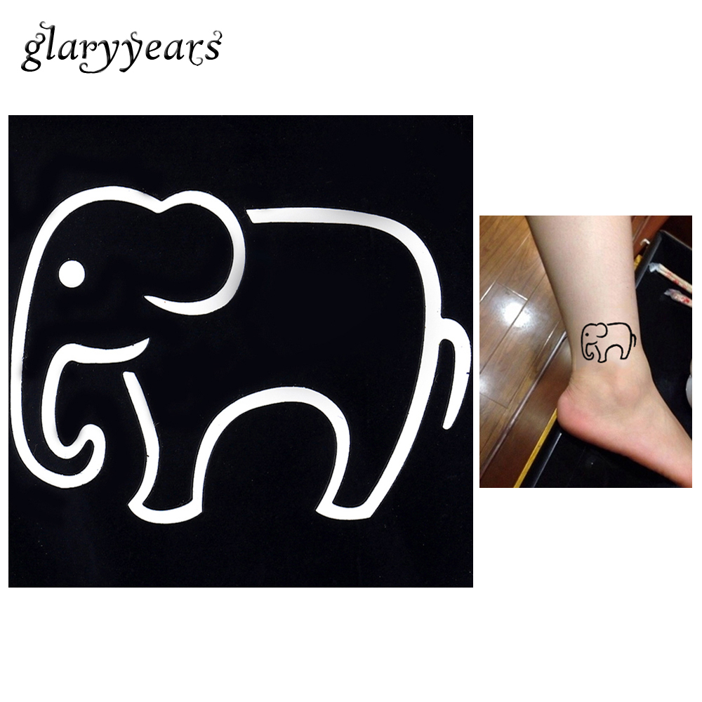 1pc Lovely Cartoon Elephant Pattern Waterproof Tattoo Stencil Woman Ankle Body Art Small Henna Indian Tattoo Sticker Stencil G20