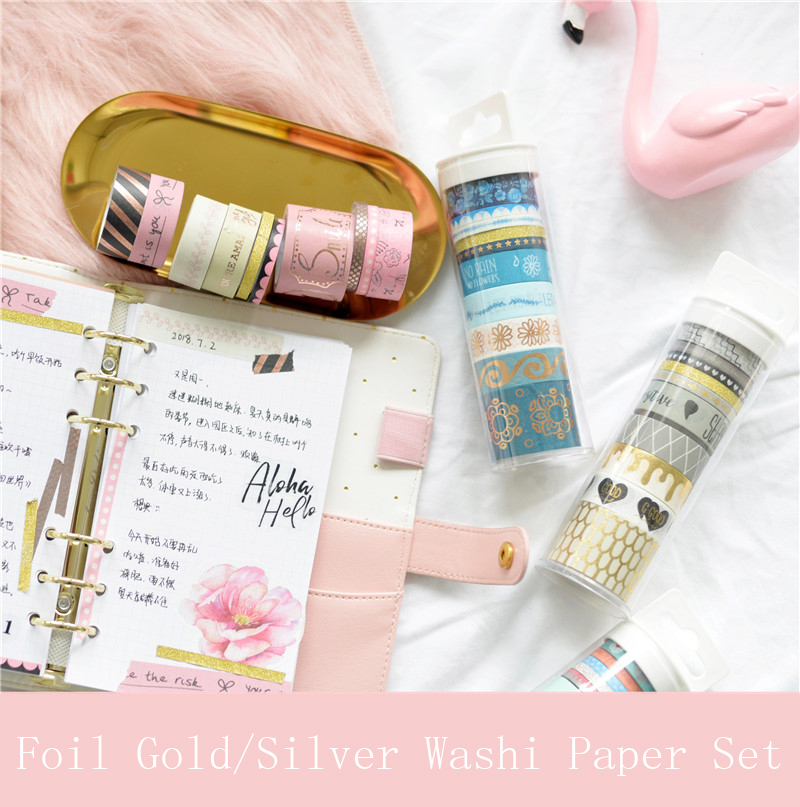 Lovedoki Foil Gold Washi Paper Tape Notebook Masking Tapes Set Planner Decorative Accessories 10 Rolls/Set European Stationery washi tape set 19 anchor sea nautical ocean sailor naval sailing stationery planner supply journal decorative masking gift wrap