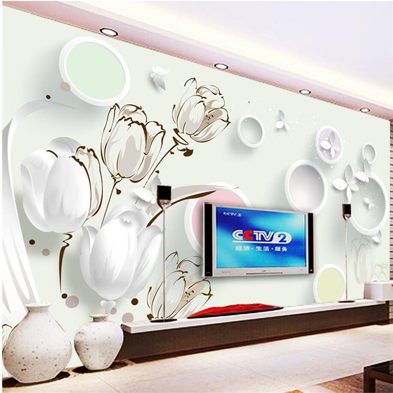 beibehang high quality Custom Photo Wallpaper Mural Tulip 3D Circle TV Background Wall Living Bedroom Sofa papel de parede custom papel de parede infantil see graffiti mural for sitting room sofa bedroom tv wall waterproof vinyl which wallpaper