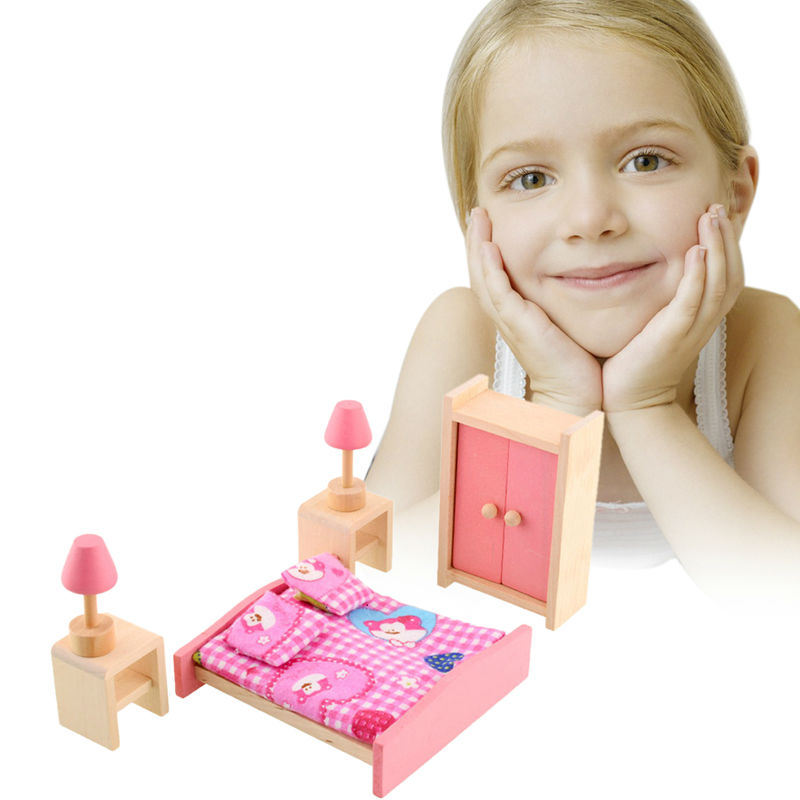Kids Bedroom Furniture Kids Wooden Toys Online: Aliexpress.com : Buy 1 Set Cute Wooden Dolls House