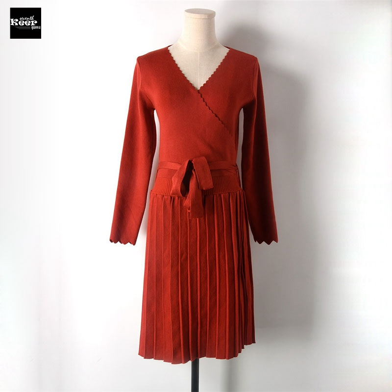 2018 New Winter Slim Basic Knitted Sweater Dresses Women Pleated Belt Runway Wavy Knit Casual Dress Autumn Knitwear Vestidos