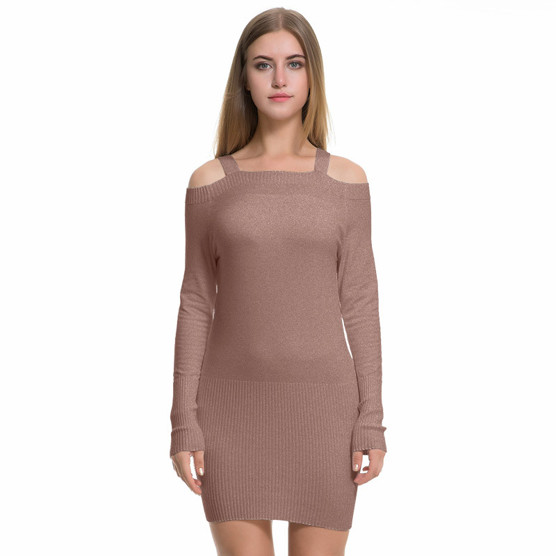 High Quality Women Casual Autumn Winter Knitted Dress For The Office Off Shoulder Long Sleeve Solid Women Sexy Sheath Dress 2030 sexy off the shoulder solid color dress for women