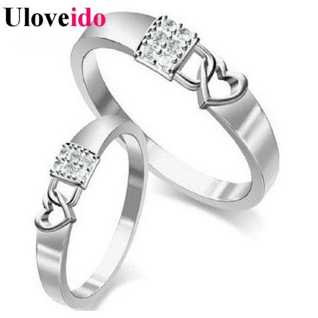 bd8d2c1ed Price for 1 Pair Bijoux Sale Silver Ring Couple Ring Sparkling Lock and  Heart Engagement Ring 6pcs of Zircon Size 4.5-10.5