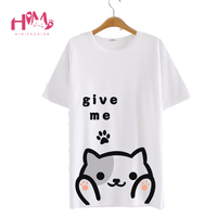 Harajuku Cat Give Me Hug Cat T Shirt Women Tee Boy And Girl Can Wear Milk