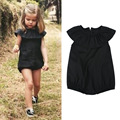 Aercourm A 2017  Summer Girls Set Newborn Baby Solid Color 100% Cotton Romper Clothes Girls Black Flounced One-piece Pants