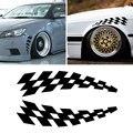 Стикеры для гоночных автомобилей, автомобильные наклейки на колеса, флаги в клетку для бровей, светоотражающие виниловые наклейки для защи...