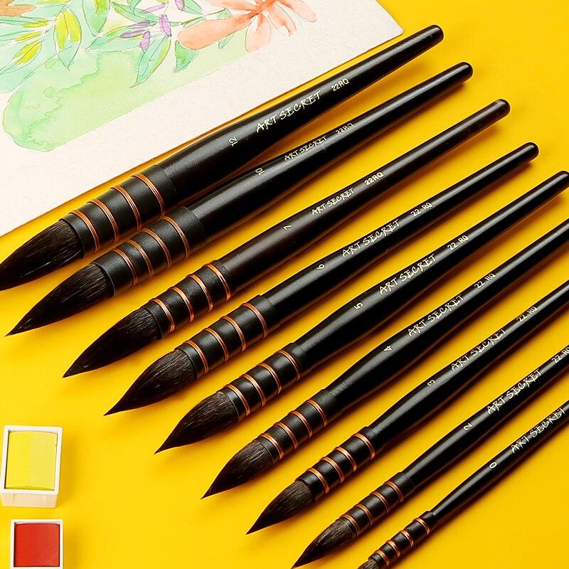Art Secret Squirrel Hair Professional Watercolor Pen Black Brush Stroke Student Watercolor Brush Painting Art Supplies