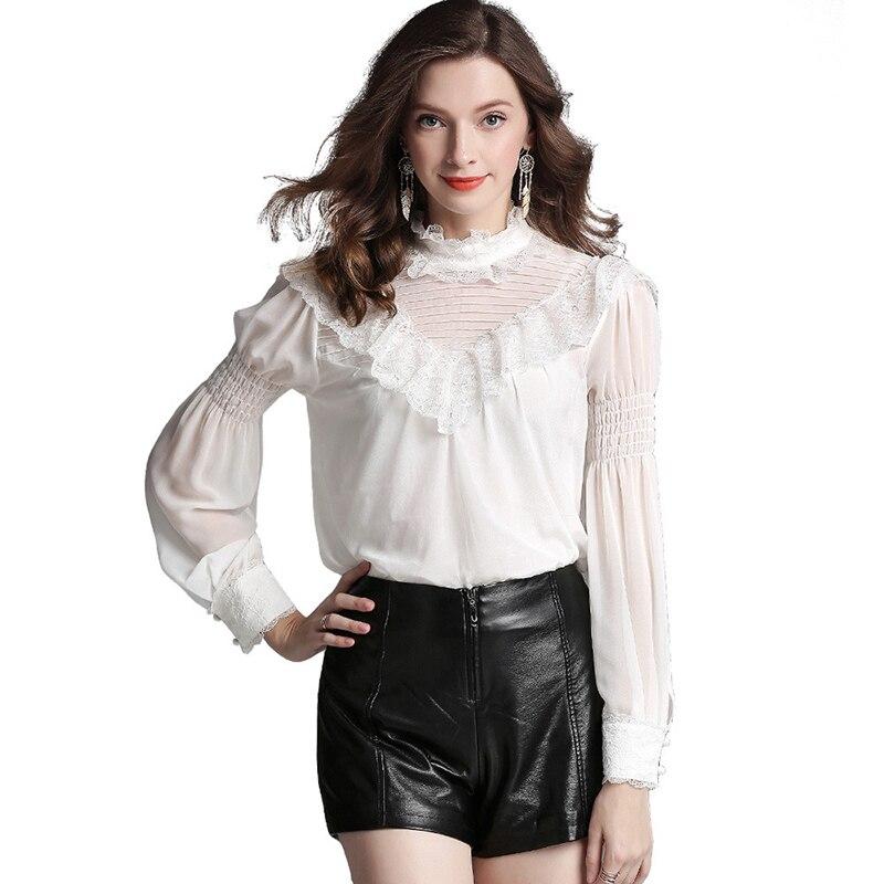 Haut de gamme femmes Satin soie Blouse blanc chemise femmes 2018 dentelle Palace Style soie Satin Blouses chemises lanterne manches femme hauts