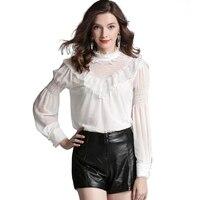 High End Women Satin Silk Blouse White Shirt Women 2018 Lace Palace Style Silk Satin Blouses Shirts Lantern Sleeve Woman Tops