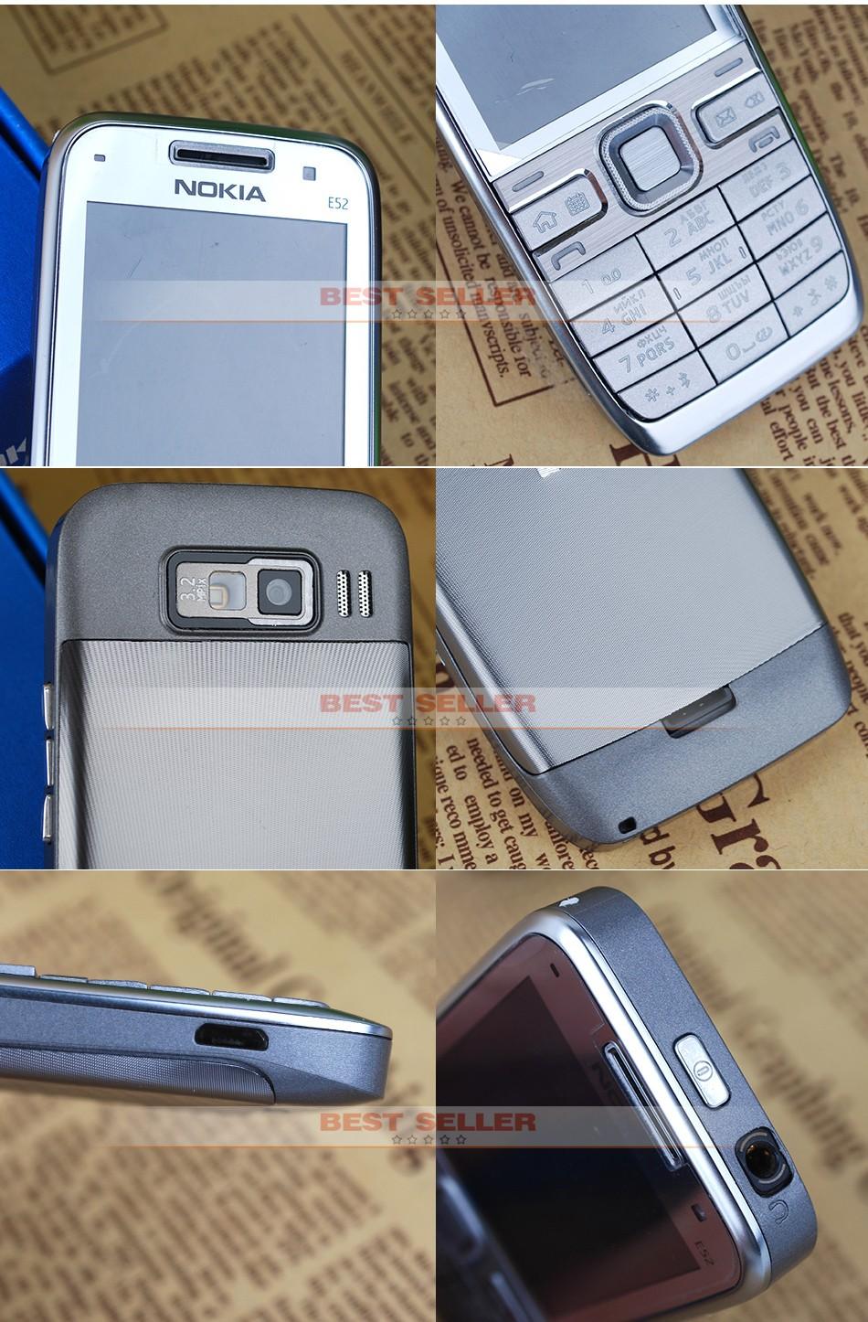 Refurbished phone Original Unlocked Nokia E52 GSM WCDMA cell phone Wifi Bluetooth GPS 3.2MP Camera black 5