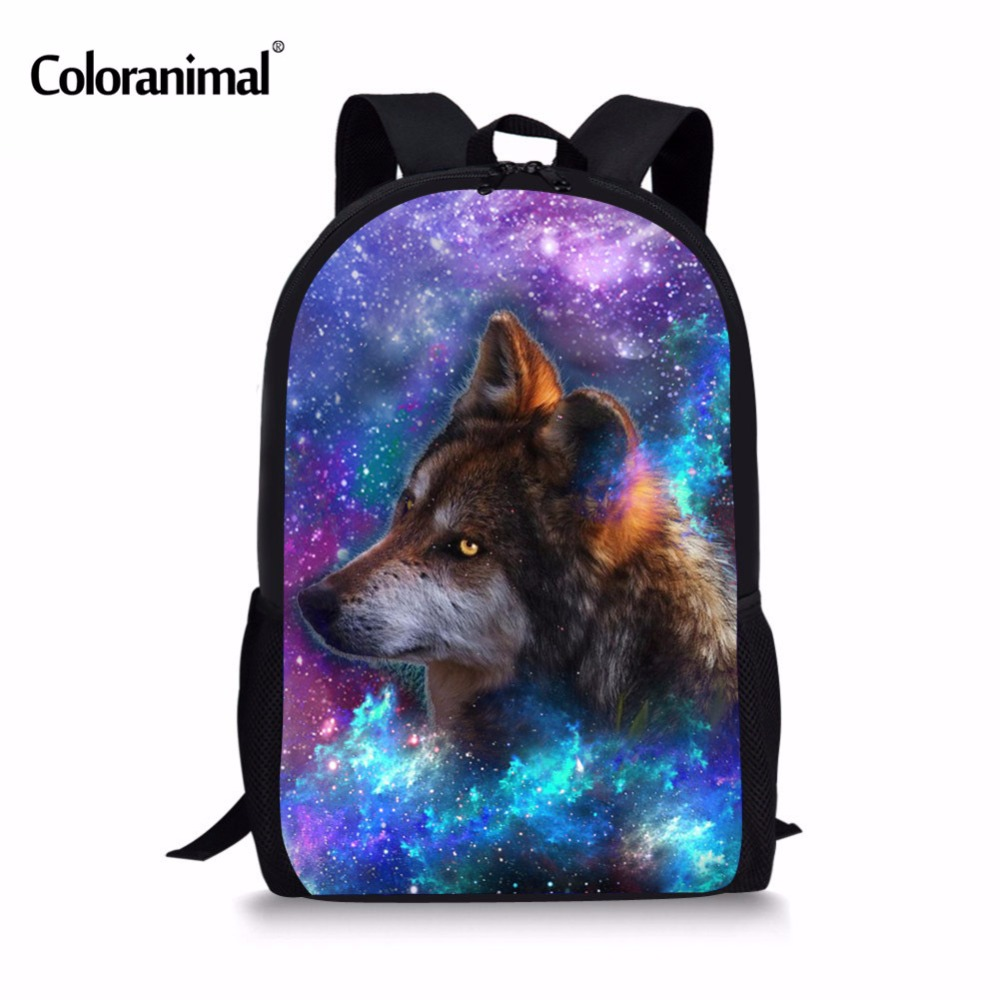 Coloranimal Galaxy Animal Print Backpack for Teenagers Boys Children School Bags Wolf Tiger Eagle Kids Girls Dialy Shoulder Pack худи print bar wolf