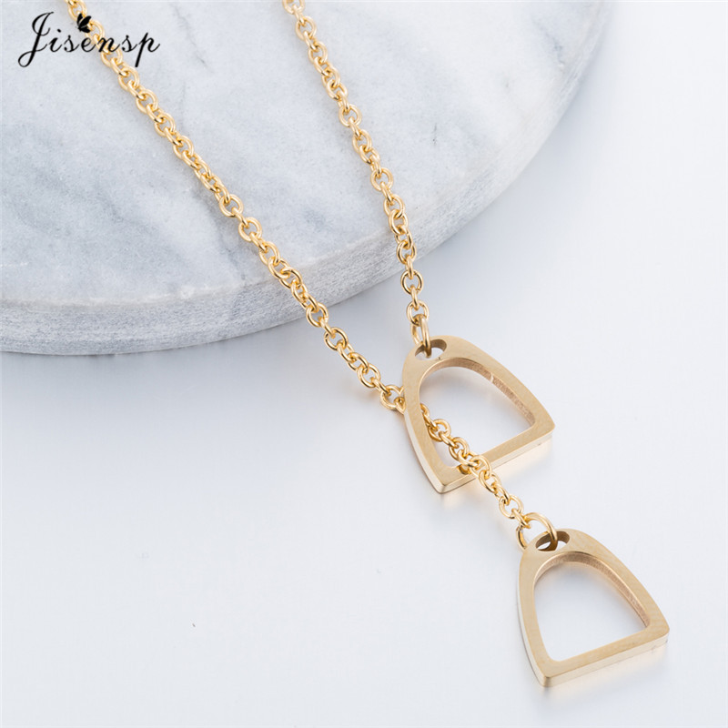 Jisensp Fashion Gold Color Horseshoe Necklaces Pendants for Women Jewelry Birthday Lovely Horse Hoof Necklace Chain Gift 8