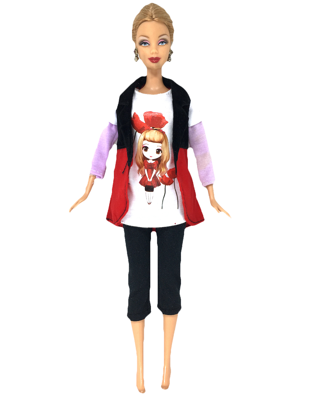 NK One Set  Fashion Handmade Vest shirt pants For Barbie Doll Clothes best Doll Blouse Outfit Baby kids Toys for girl's Gift handmade casual wear outfit jacket coat gray vest pants khaki trousers clothes for american girl doll 18 accessories toys gift