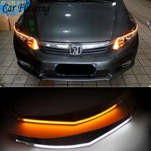 Автомобильный мигающий 2 шт. для Honda Civic 2011 2012 2013 автомобильный головной светильник для бровей с сигналом поворота 12 В DRL Дневной ходовой светильник