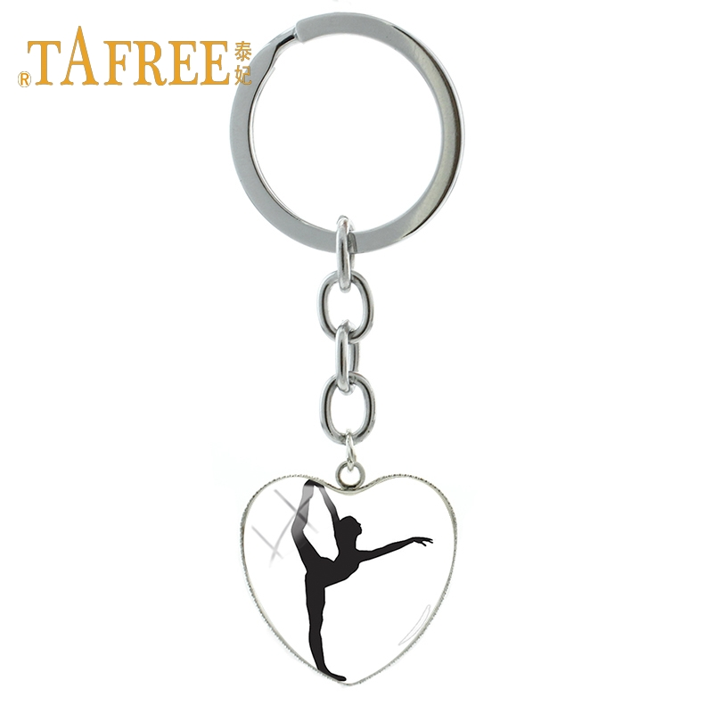 TAFREE Love Gymnastic Heart-shaped Pendant Keychain Sports Enthusiasts Souvenirs Decorative Pendant Key Chain Jewelry GY216
