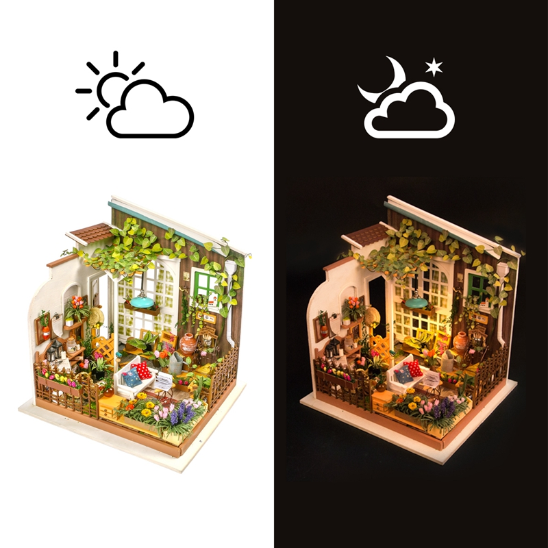 Robotime Home Decor Figurine DIY Miller Garden Wood Miniature Doll House Modern Decoration Accessories Dollhouse for Gift DG108-in Figurines & Miniatures from Home & Garden    2
