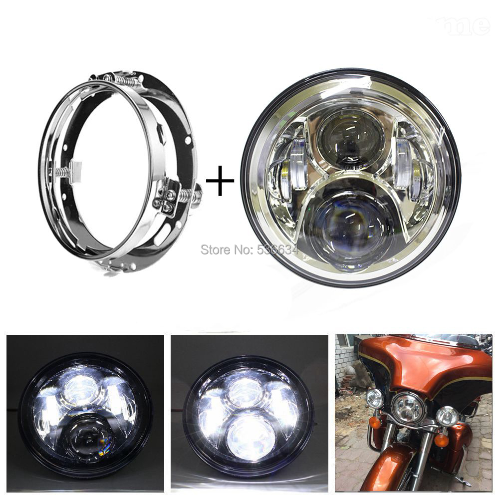 7 Inch LED Round Projector Daymaker Headlight With Chrome LED Headlight Mounting Bracket For Harley Davidson Softail Deluxe usb3 0 round type panel mounting usb connecter silver surface