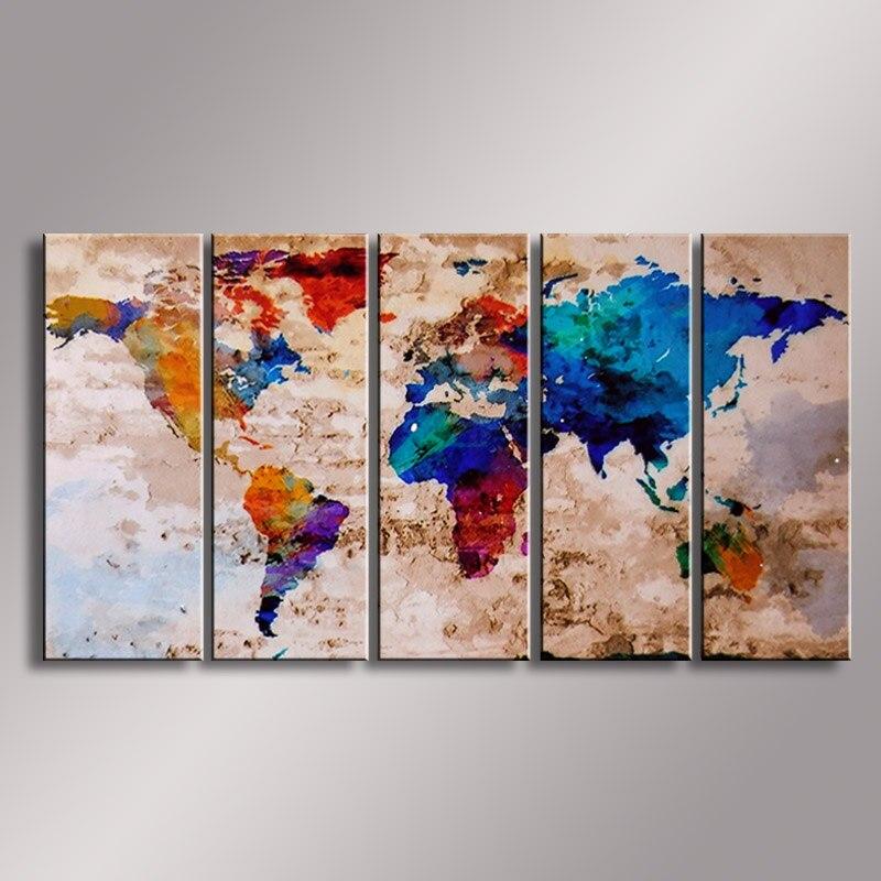 Mappa del mondo pittura Pittura A Olio 100% Dipinto A Mano Moderno di Arte Della Parete Pittura, pittura a olio astratta WM-006