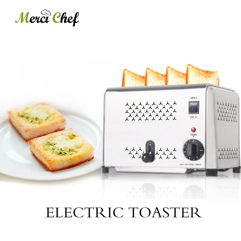 ITOP 4 Slices Toaster Stainless Steel Commercial Bread Toaster Oven Timer Automatic Breakfast Sandwich Machine Kitchen Tools electric conveyor toaster ct 150 conveyor toaster oven 150 180 slices of bread 1hr