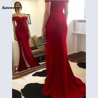 2019 New Arrival Off the shoulder Sexy Red Bridesmaid Dress Sweetheart Neckline A line Side Slit Long Bridals Prom Dresses