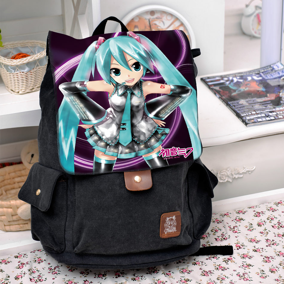 Anime Cosplay Hatsune Miku Backpack Fashion casual large capacity Bags For Men Women School Bags 2017 new vocaloid hatsune miku luminous backpack cosplay anime student school bag bookbag travel shoulder laptop bags packsack
