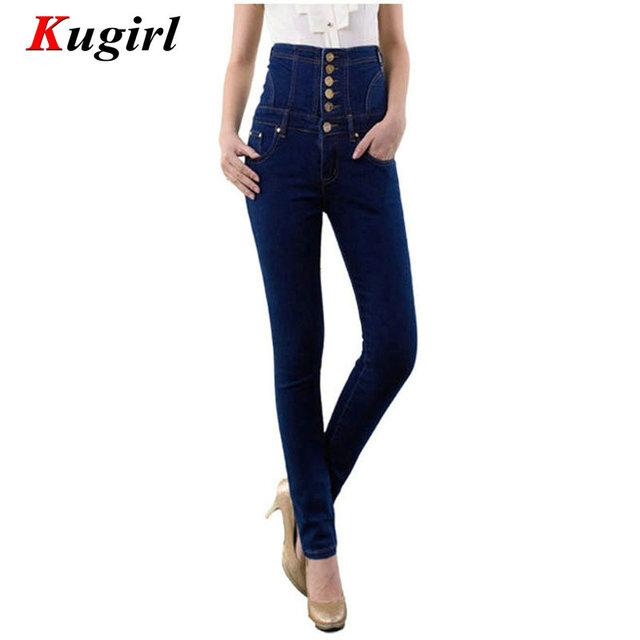 Plus Size S-6XL das Mulheres de Cintura Alta Jeans Skinny Femininas Calças Jeans Casual Calças Slim Lápis Calças Stretch de Cintura Alta calças de brim