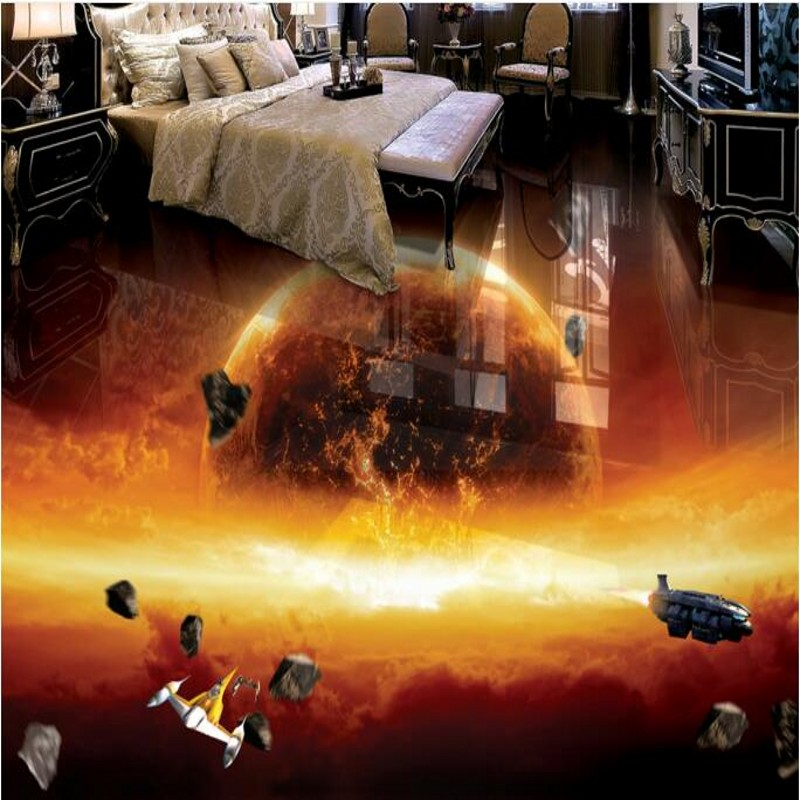 beibehang Large Customized Floor Sticker Burning Earth Universe Galaxy 3D 3D Waterproof Thickening Anti-Slip Floor Tile Painting пылесос bosch bsgl32383 bsgl32383