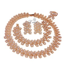Fashion Women Gold Plated African Beads Jewelry Sets Crystal Rhinestone Earrings Necklace/Choker Wedding Bridal Jewelry Sets