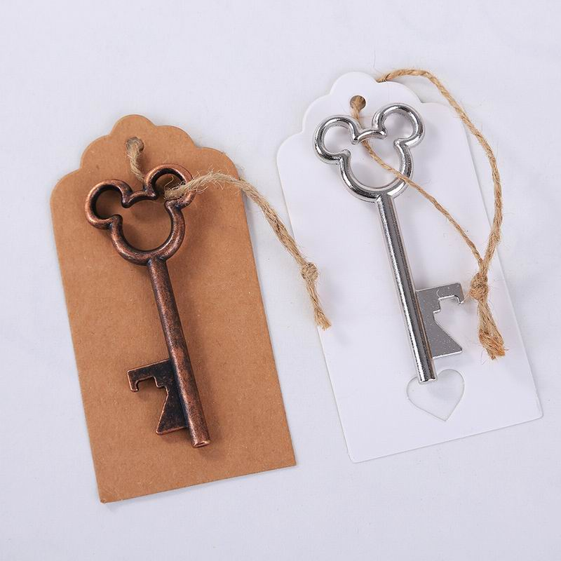 50pcs/lot June 2018 New Design Creative Wedding Favors Party Back Gifts Antique Copper Mickey Mouse Key Beer Bottle Opener