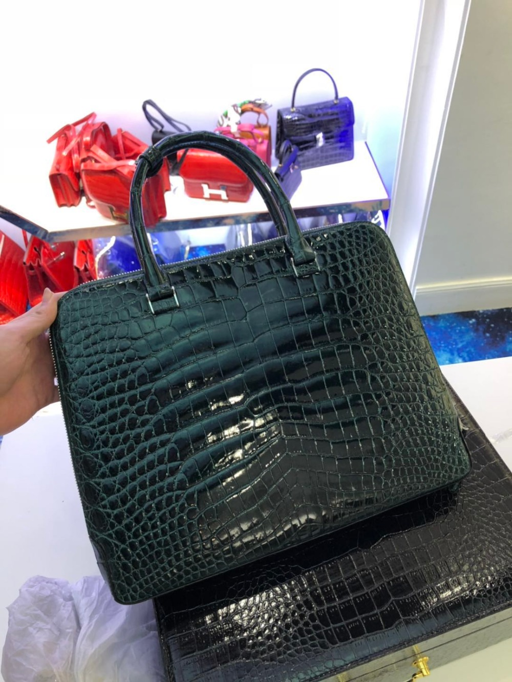 High Glossy  100% Genuine Crocodile Skin Men Business Bag Crocodile Leather Skin Briefcase Men Laptop Bag With Cow Skin Lining
