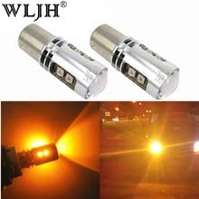 WLJH 2x Canbus Желтый янтарь ошибок светодио дный BAU15S 7507 PY21W 1156PY Автомобиль Сигнальные лампы мигалка загорается индикатор 10 В-30 В