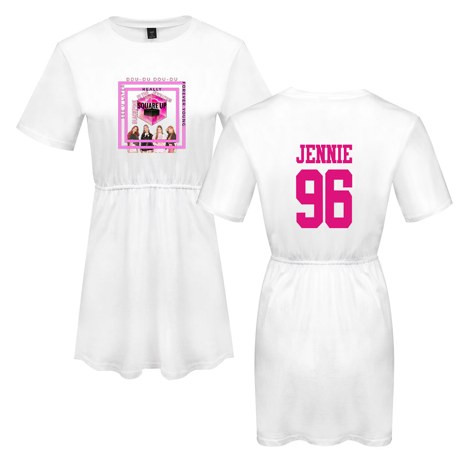 LUCKYFRIDAYF Kpop Summer Blackpink Member Jennie Rose Lisa Print Pop Woman 39 s dress Cute print Fashion Women Print Dress Clothes in Dresses from Women 39 s Clothing