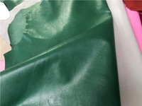 dark green Genuine grain sheep skin leather material sale by whole piece