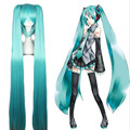 Hatsune Miku Anime Cosplay Wigs Synthetic Hair 1.2M Long Straight Hair Two Ponytails Claw On Hair Heat Resistant Wigs 3pcs/Set