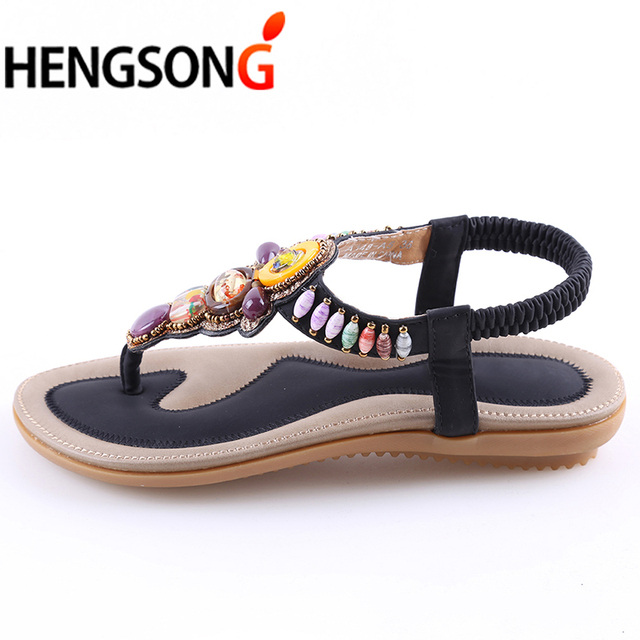 HENGSONG 2018 Bohemian Women Sandals Gemstone Beaded Slippers Summer Beach  Sandals Women Flip Flops Ladies Flat Sandals Shoes 816a05c8e8b1