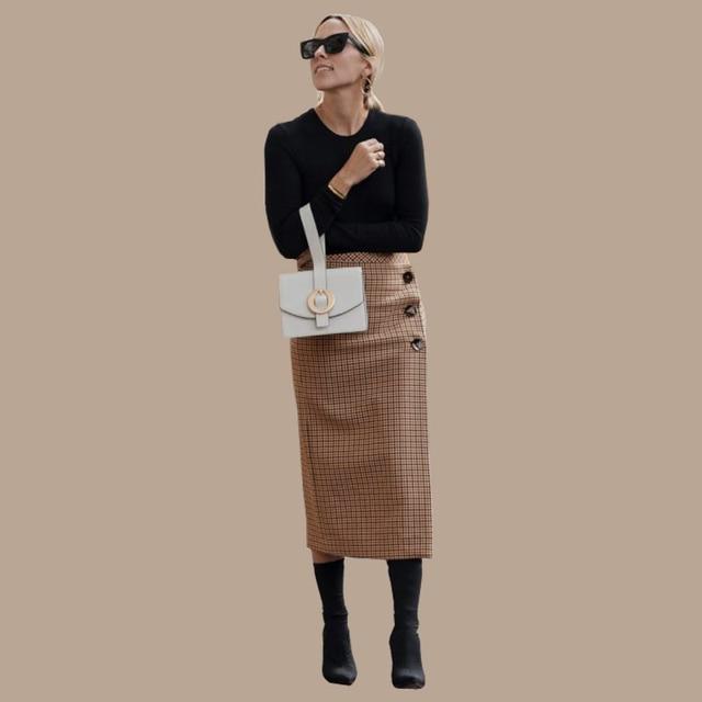 AEL Retro Female Hight Waist Asymmetry Woolen Midi Skirt Wrap New Plaid Women Clothing Vintage Fashion Jupe Longue Femme Slim 1