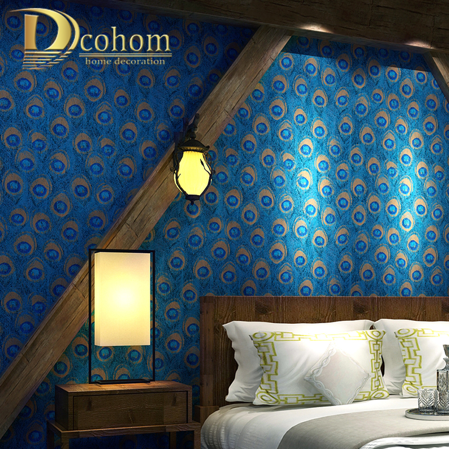 Dcohom Chinese Style Peacock Feather Wallpaper For Living Room Hotel Room TV Background Walls Decor  Wall Paper Rolls chinese style wood grain wallpaper living room tv background wall hotel clothing shop tea house coffee shop circle home decor