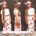 Ropa 2016 muchachas del verano t shirt dress bufanda cinturón 4 unids/set floral cuello de encaje traje ropa de los niños venda de la flor