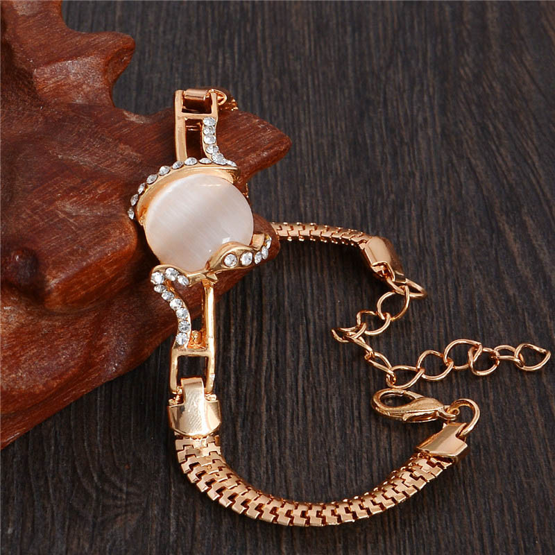 MISANANRYNE  Fashion Jewelry Gold Color Shiny Austrian Crystal Cat Eye Stone New Design Bracelets 5