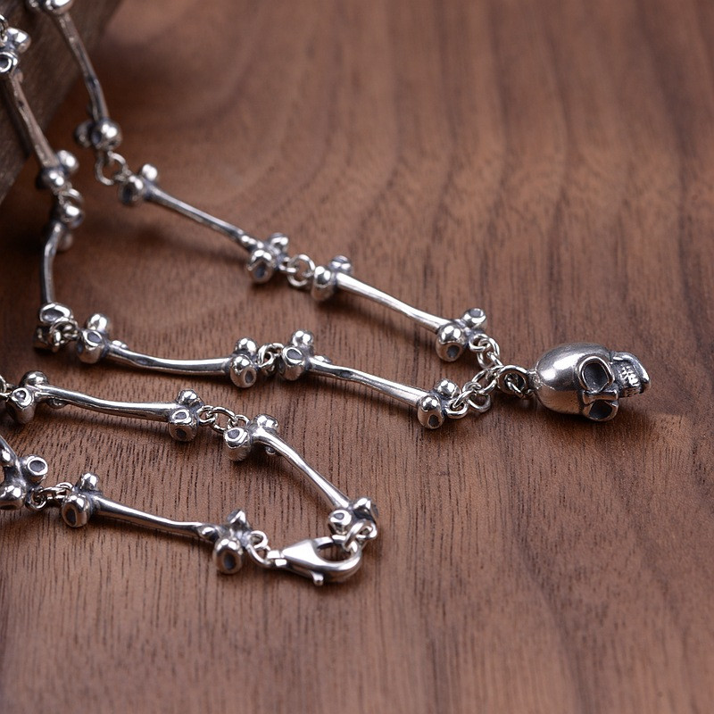 V.YA 59CM Skull Pendants Necklaces 925 Sterling Silver Long Chain Necklace for Men Male Retro Silver Jewelry Gifts